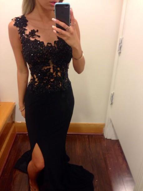 dress prom dress black dress black lace black prom dress