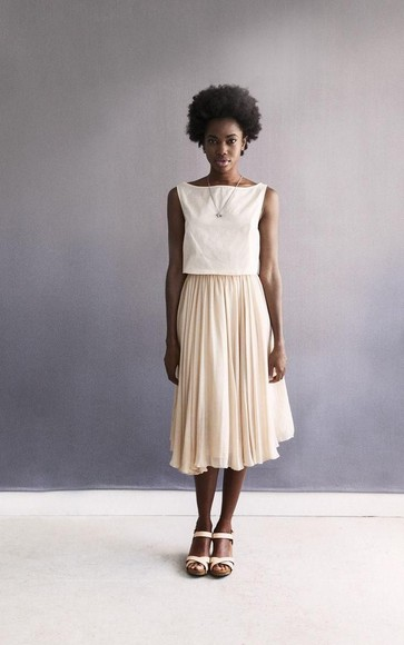 nude skirt spring summer pleated skirt