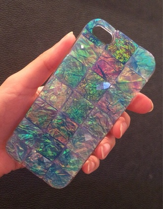 jewels cute iphone 5 case iphone case nice iphone phone cover petrol multicolor holographic