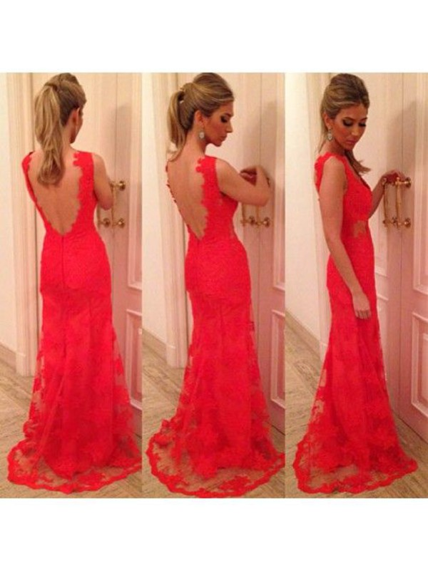 red lace dress open back dresses sexy dress floor length dress v neck dress floor length bridal gown wedding dress wedding dress lace