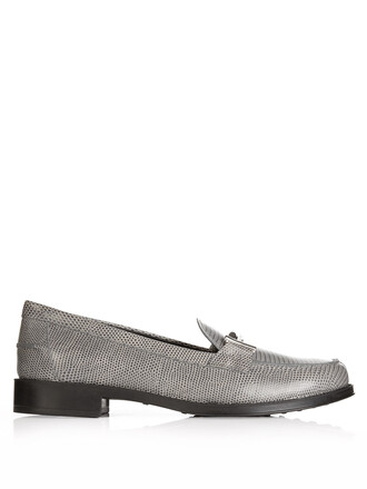 loafers leather grey shoes
