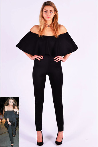 1f870aebc9a Off The Shoulder Ruffle Jumpsuit In Black - Pop Couture