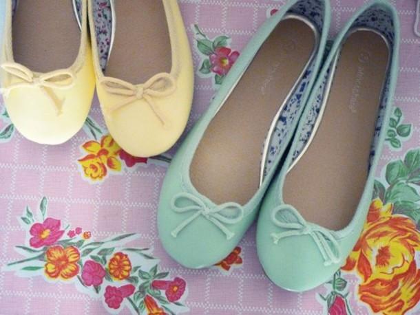 mint ballet flats pastel shoes