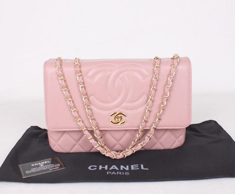 Chanel Shoulder Bag 3289 Pink Sheepskin