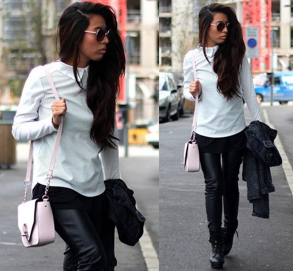 stripes blogger bag sunglasses article 21 top jacket leather pants