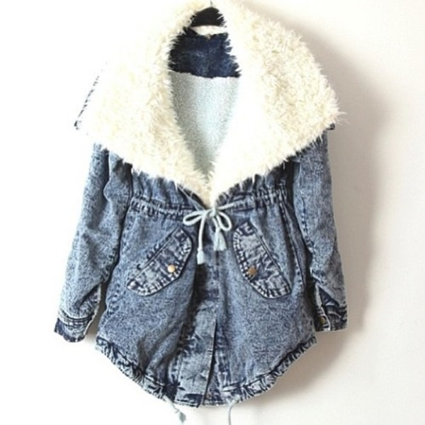 Blue Fur Lapel Long Sleeve Drawstring Denim Coat - Sheinside.com