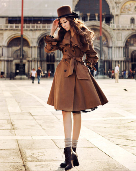 coat trench brown