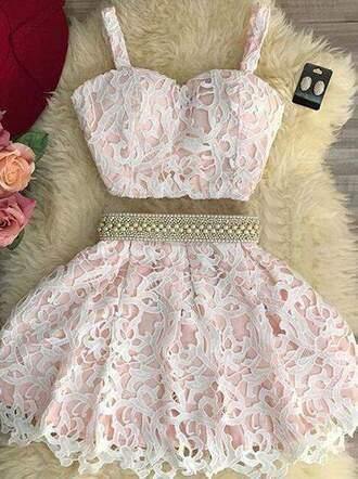 dress lace pink pearl two piece dress set