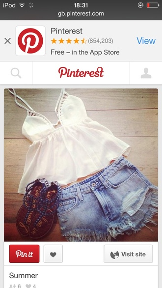 top white strappy cut out pattern top