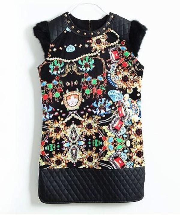 black studded dress print dress fur dress rabbit fur vintage tank top patchwork black dress