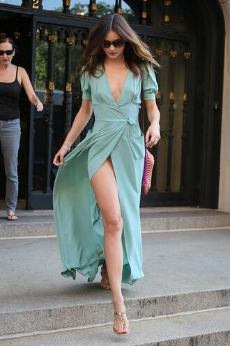 dress sexy dress maxi dress slit dress plunge v neck miranda kerr summer dress classy