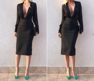 dress high waisted black skirt black dress black all black everything black sunglasses sunglasses plunge v neck shirt dress shirt black shirt high waisted pencil skirt black skirt classy mint green shoes metallic shoes jelena karleusa
