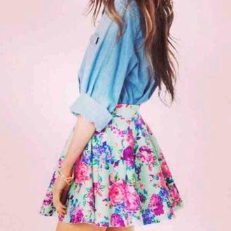 skirt mint pastel floral skater tumblr skater skirt top