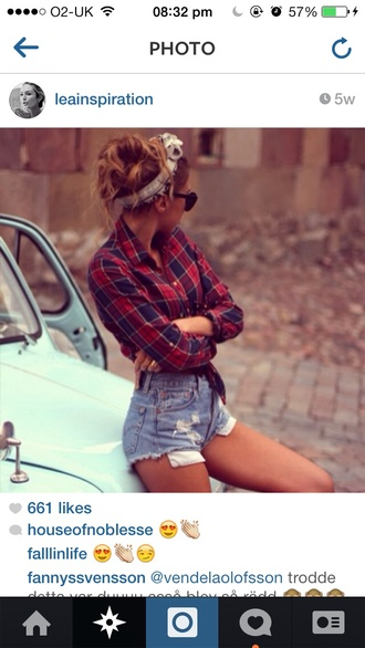 shirt levi's headband festival casual chic black sunglasses red and blue check checkered button up high waisted shorts stonewash checked shirt