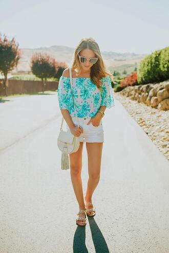 twenties girl style blogger top shorts bag sunglasses shoes shoulder bag white shorts sandals off the shoulder top