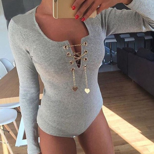 dafa561f88c6 jumpsuit bodycon cleavage lace up winter outfits style top grey fashion  long sleeves bodysuit pink Sexy