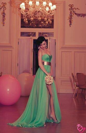 dress green belt gold belt slit belt green dress prom dress maxi dress gold gold and green long dress strapless dress slit dress long train green sweetheart neckline long prom dress metal gold belt long prom beautiful seafoam gold band emerald dress long maxi chiffon prom gorgeous