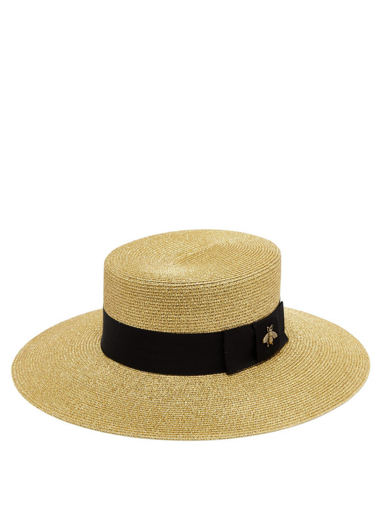 c5eb5f57eebe0 GUCCI Bee-embroidered straw boat hat in gold