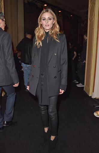 pants coat olivia palermo fashion week 2016 paris fashion week 2016 blouse all black everything