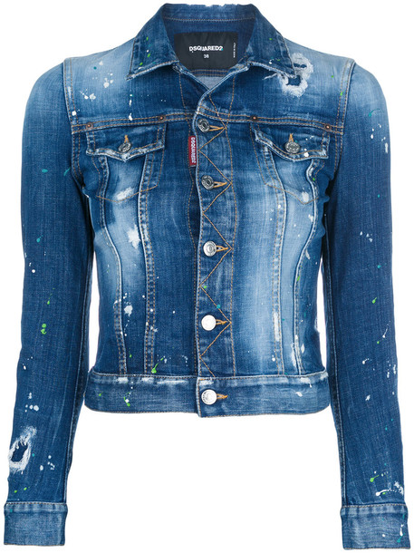 Dsquared2 jacket denim jacket denim cropped women spandex cotton blue