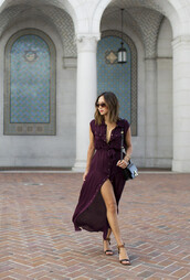 song of style,blogger,dress,bag,plum,button up,flats,flat sandals,slit dress,long dress,cute,fashion,style,classy,deep purple,bourdeax,dark dress,dark color,purple dress,button dress,gold buttons,buttons,ombre,ombre hair,red bourdeaux  blouse,heels,floor length dress,oxblood,blood red dress
