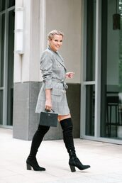 the courtney kerr,blogger,dress,shoes,bag,jewels,fall outfits,handbag,boots,over the knee boots