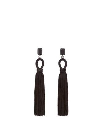 long tassel embellished earrings silk black jewels