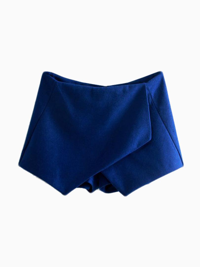 Blue woolen Culottes With Asymetric Hem - Choies.com
