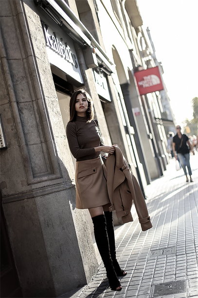 skirt tumblr mini skirt nude skirt top brown top boots black boots over the knee boots over the knee jacket