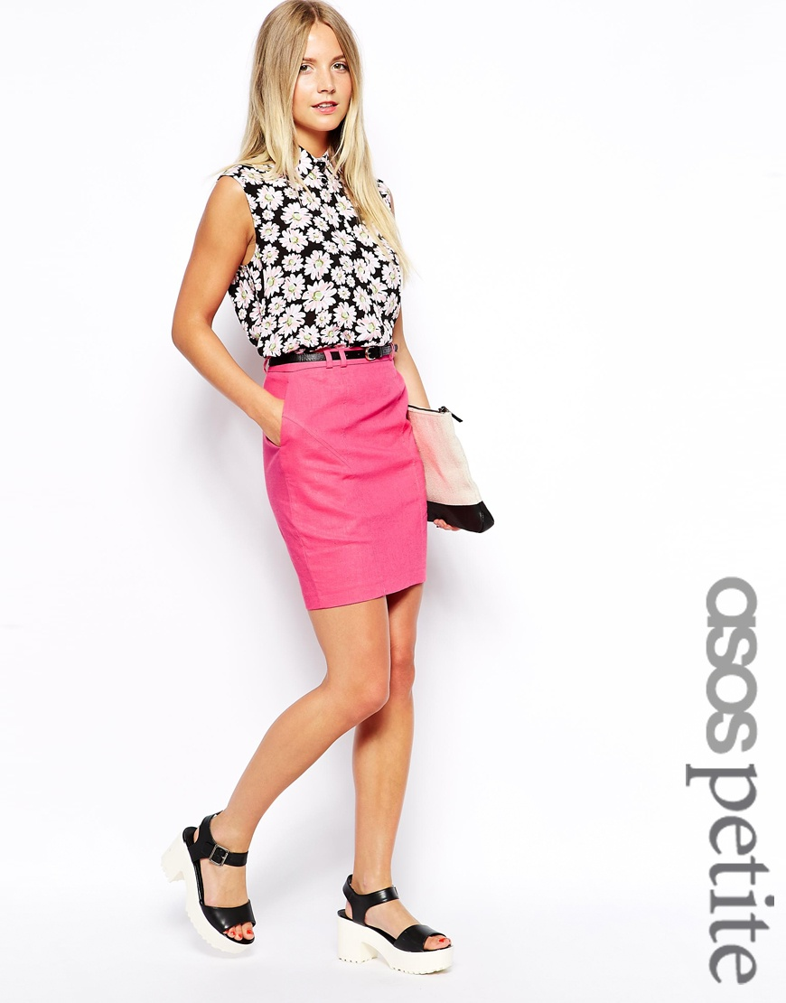 Asos petite exclusive linen pencil skirt with belt at asos.com