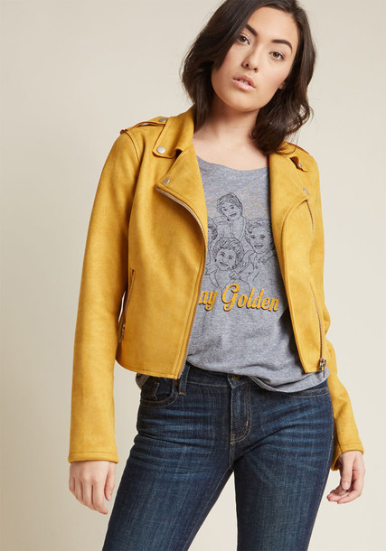 JJ1903 jacket retro chill silver suede yellow mustard