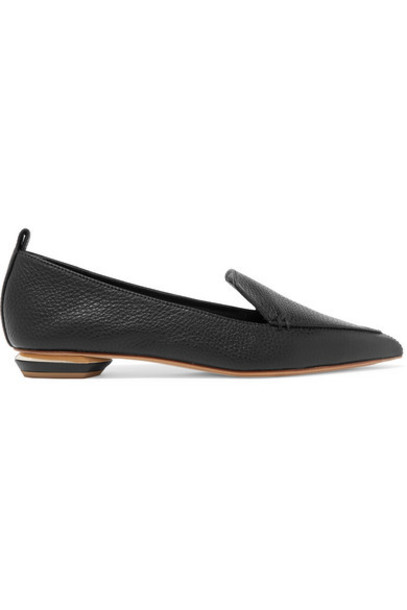 flats leather black shoes