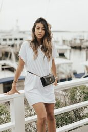 dress,shirt dress,white derss,bag,belt bag