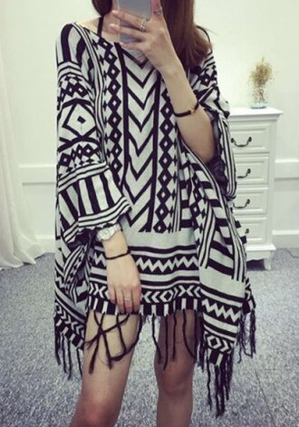 sweater pattern fringes boho fall outfits fashion style printed sweater black and white