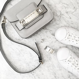 bag accesoire leather grey bag shoulder bag leather sneakers white sneakers silver jewelry minimalist