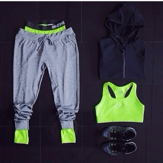 pants sweatpants lime grey underwear sweater tank top grey sweatpants nike black zip up hoodie nike sportswear sports bra woman's jeans tights gym clothes gym sportswear workout pants exercise clothes jumper pullover cardigan whole oufit bra