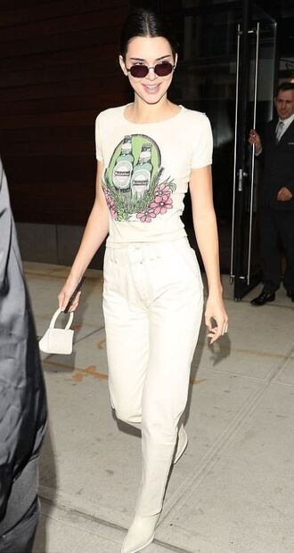 pants top t-shirt kendall jenner sunglasses spring outfits model off-duty