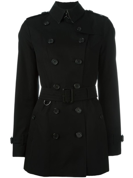coat double breasted women cotton black