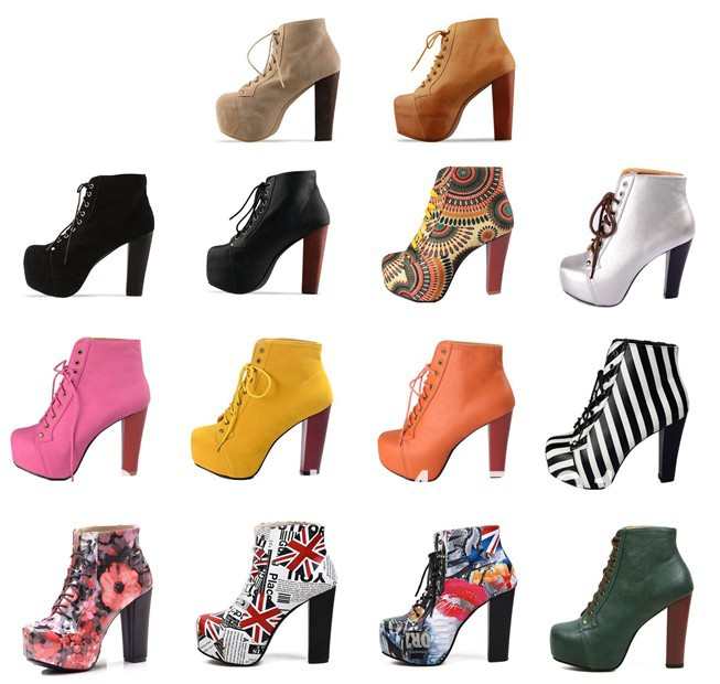 16 Styles Hot Fashion Jeffrey Campbell Women High Heel Motorcycle Ankle Boots Lace Up Platform Martin Boots Womens Winter Shoes on Aliexpress.com