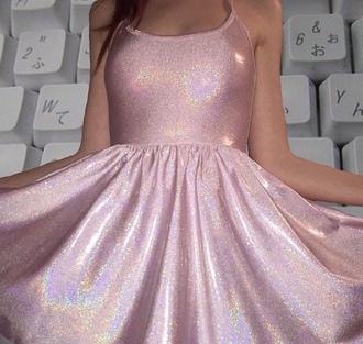 dress pink dress holographic