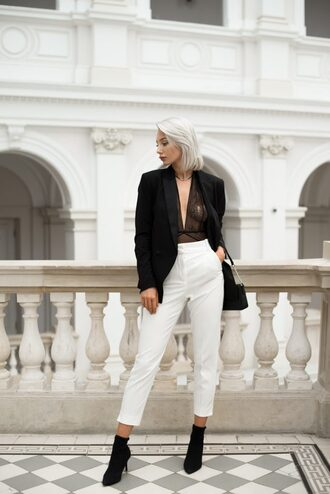 blogger jacket jewels pants bag shoes socks ankle boots blazer fall outfits white pants shoulder bag