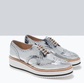 shoes metallic platform sneakers