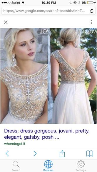 dress jovani prom dress gold white sparkly dress