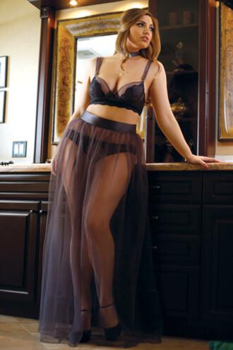 skirt fantasy lingerie curve plus size maxi skirt bikiniluxe