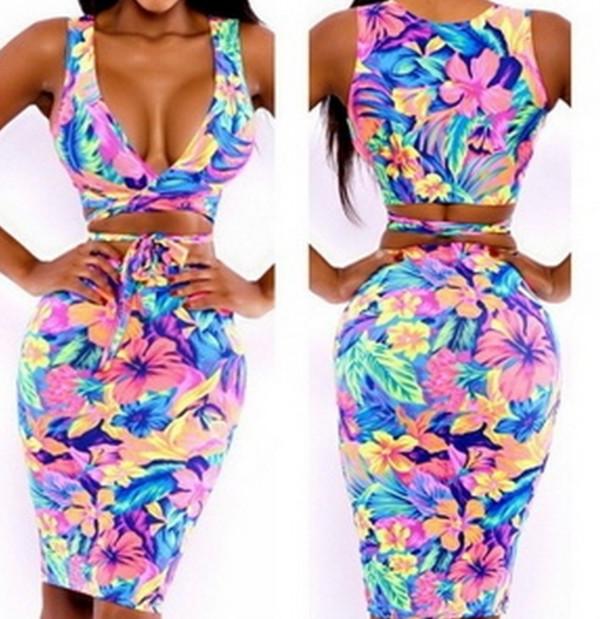 dress print crop top dress floral print bodycon dress cute dress summer outfits summer dress bodycon dress tropical floral summer floral dress