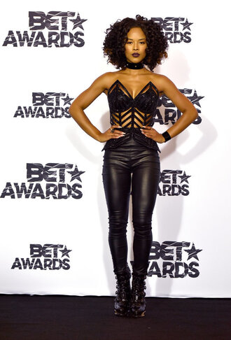pants top leather all black everything bet awards black underwear