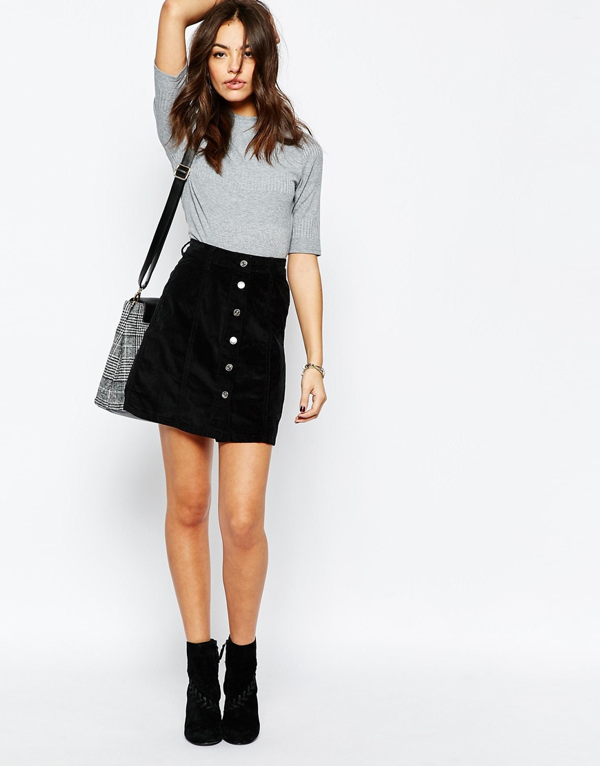 Look Cord Button A-Line Skirt at asos.com