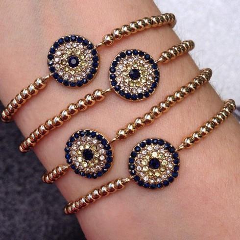 crystal evil eye beaded bracelet