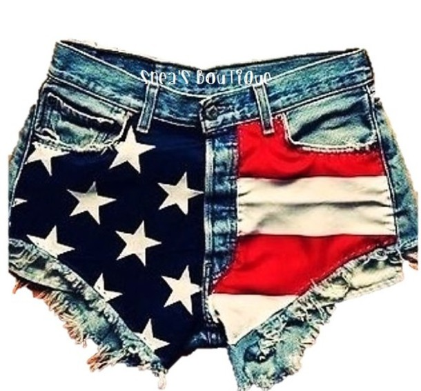 Shorts: clothes, american flag, hight waisted, denim, jeans ...