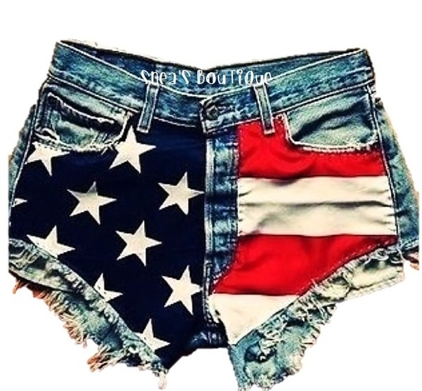 Shorts Clothes American Flag Hight Waisted Denim